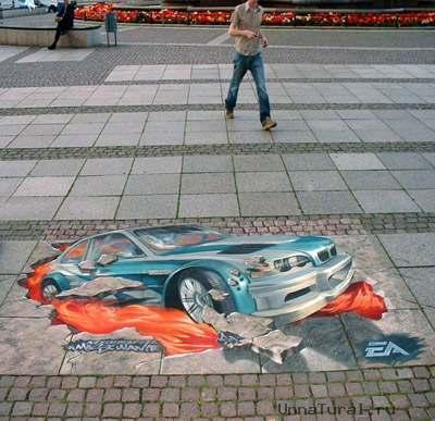 need for speed 3d 1 3D искусство на улицах города (3D Pavement Art)