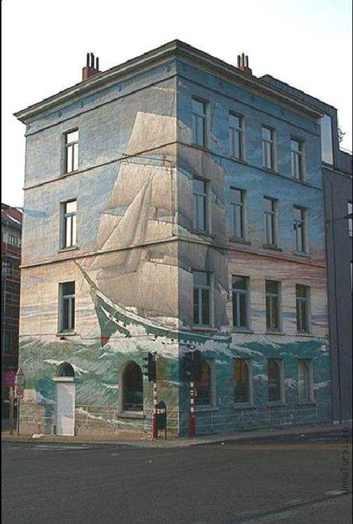 trompeloeilwallpicturesm Живые картины на улицах города