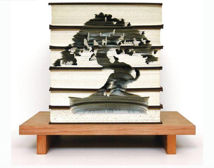 dghdgf Кайли Стиллман: искусство резьбы по книжным стопкам
