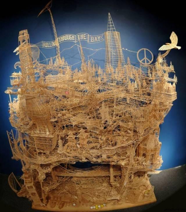 Scott Weaver m Модель моста Золотые Ворота, на создание которой у Скотта Вивера ушло 34 года жизни и 100 000 зубочисток