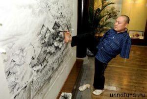 Huang Guofu m Китайский художник, который рисует невероятные по своей красоте картины при помощи рта и правой ноги