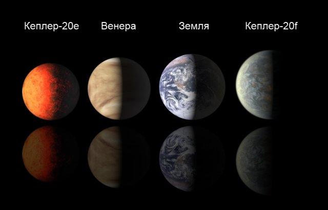 Kepler20 planets m Астрономам впервые удалось обнаружить две планеты размером с Землю, которые обращаются вокруг инопланетного Солнца