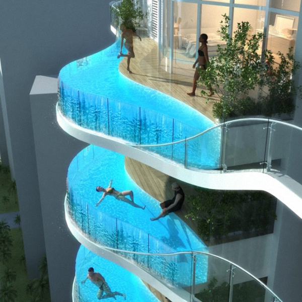 Glass Balcony Pools at Aquaria Grande Residential Tower in Mumbai, India.