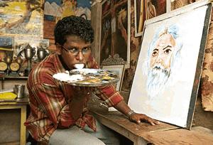 Ani K tongue painting 300x204 Индийский художник рисует картины при помощи своего языка